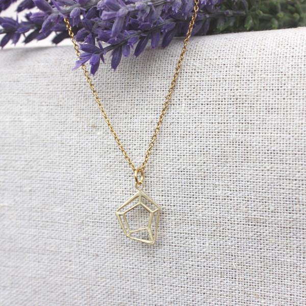 STERLING SILVER DIAMOND CUT PENDANT (GOLD)
