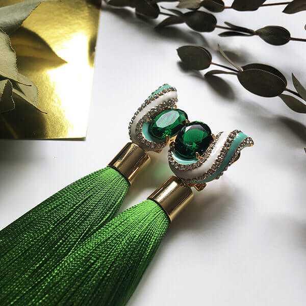 """Серьги-кисти """"Emerald"""" (зеленые)"""