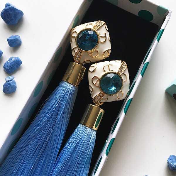 Голубые серьги-кисти