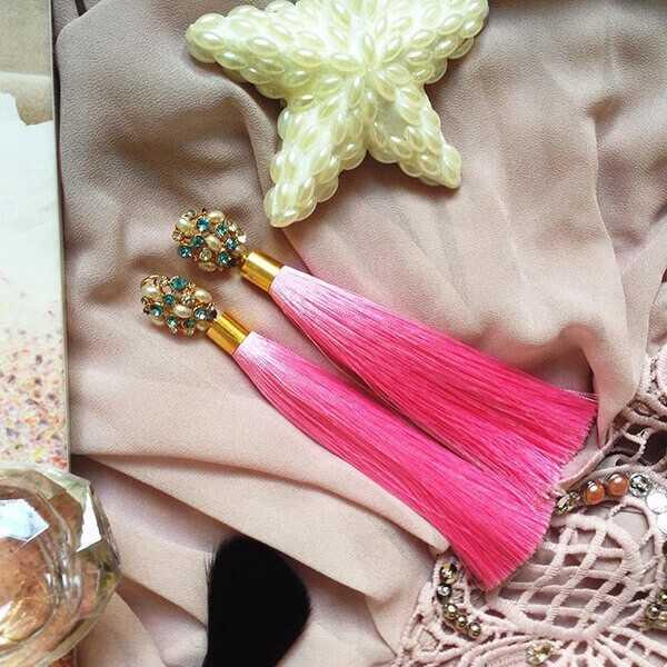 розовые серьги-кисточки с жемчугом