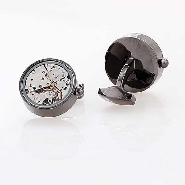 Запонки с часовым механизмом Hrono № 4  (со стеклом)