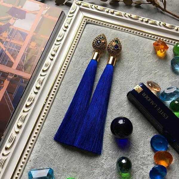 Синие серьги с кистями