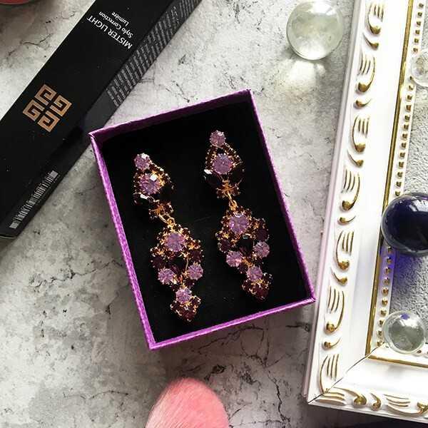 фиолетовые вечерние серьги