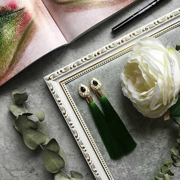 зеленые серьги-кисти