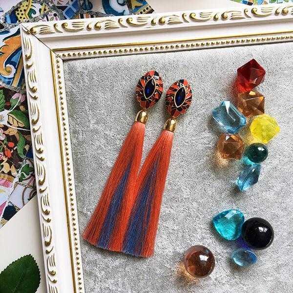 """Серьги-кисти """"Fantasies of Gaudi"""" (коралл + голубой)"""