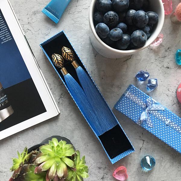 Голубые серьги-кисточки