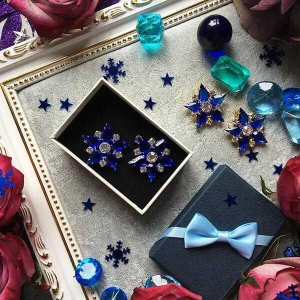 Синие вечерние серьги