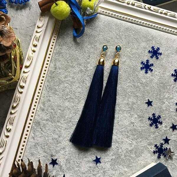 темно-синие серьги-кисточки