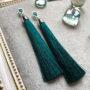 """Серьги-кисти из шелковой нити """"Tiny"""" (темно-зеленые)"""