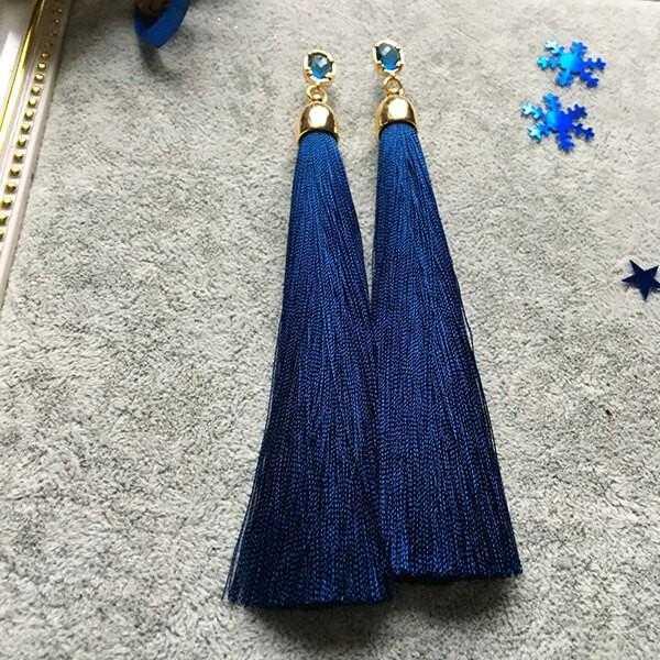 Серьги-кисти от Diamondz (синий электрик)